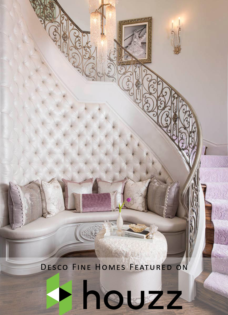 "Desco Fine Homes was hand-picked to be featured on the homepage of Houzz! ""Trending Now: 15 Staircases Making Houzzers Swoon""… Stair runners, reclaimed wood, seating and storage are featured in the most popular stairway photos on Houzz"